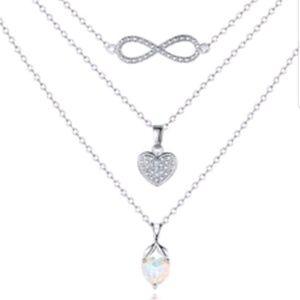 Jewelry - New beautiful simulated opal &diamond accent 3 lay